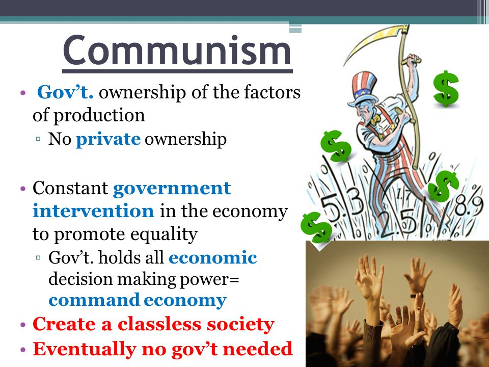 Communism Gov't. ownership of the factors of production