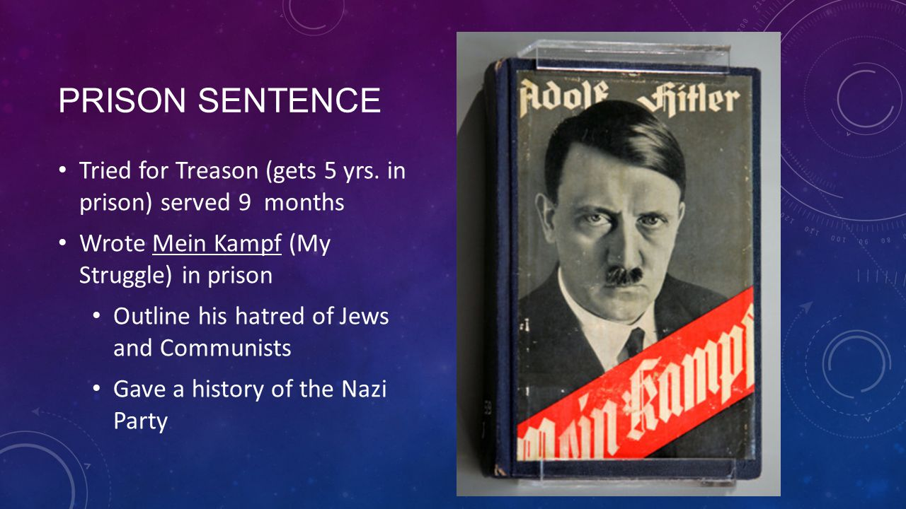 Prison Sentence Tried for Treason (gets 5 yrs. in prison) served 9 months. Wrote Mein Kampf (My Struggle) in prison.