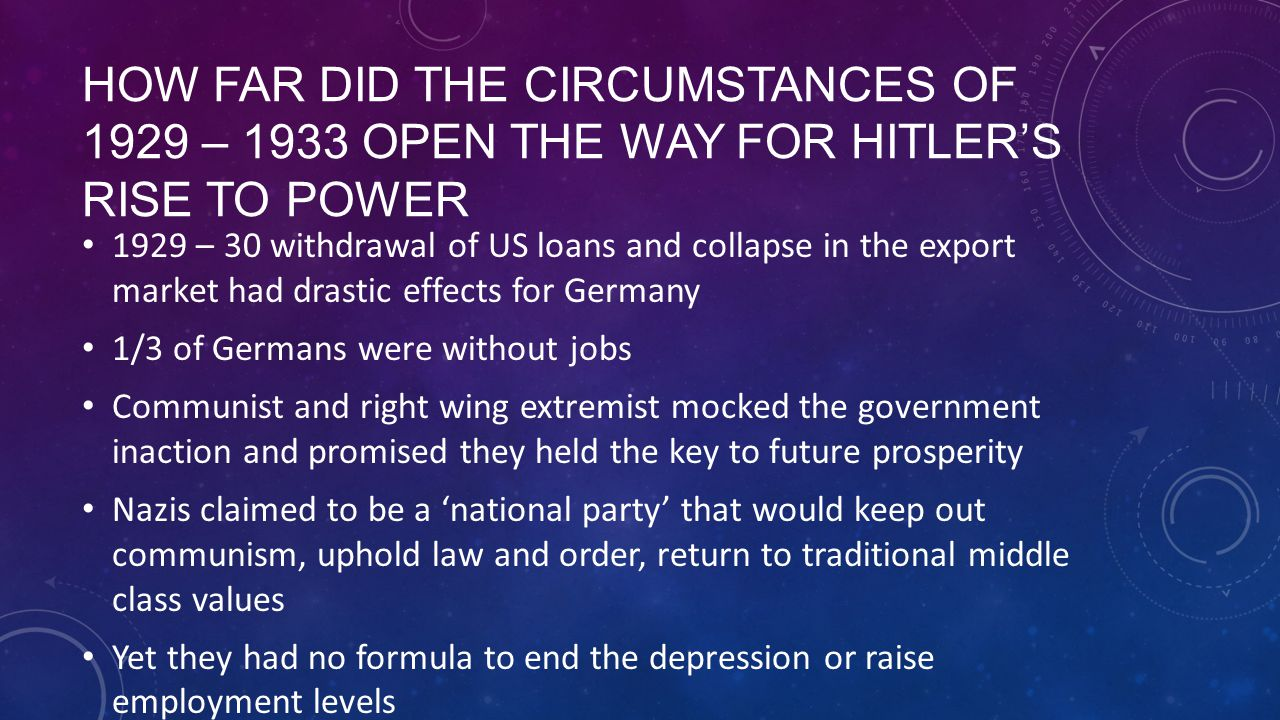 How far did the circumstances of 1929 – 1933 open the way for hitler's rise to power