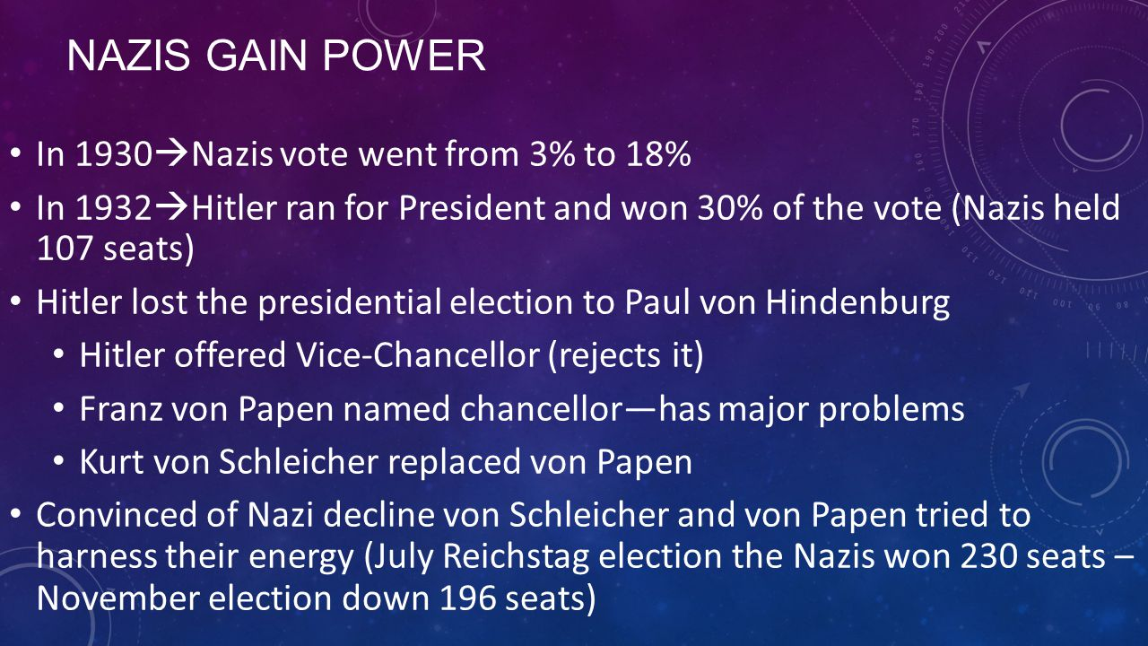Nazis Gain Power In 1930Nazis vote went from 3% to 18%