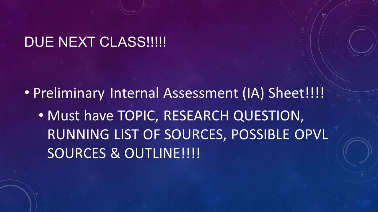 Preliminary Internal Assessment (IA) Sheet!!!!