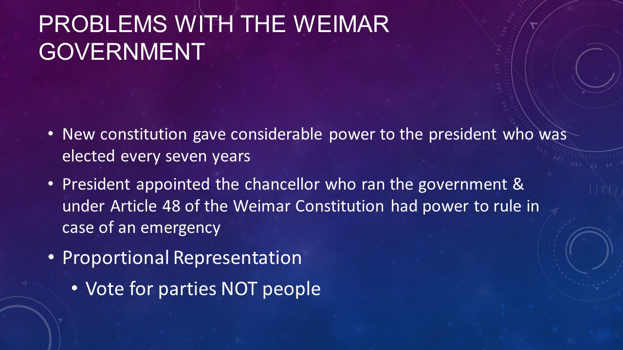 Problems with the weimar government