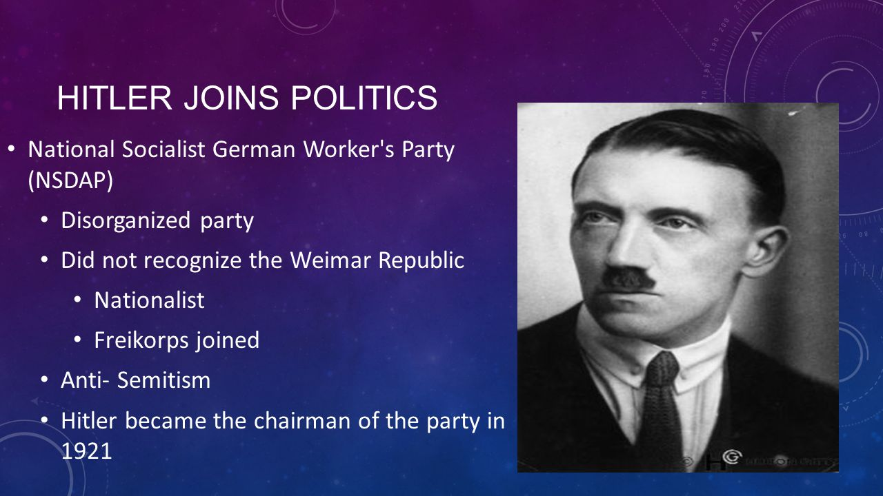 Hitler Joins Politics National Socialist German Worker s Party (NSDAP)