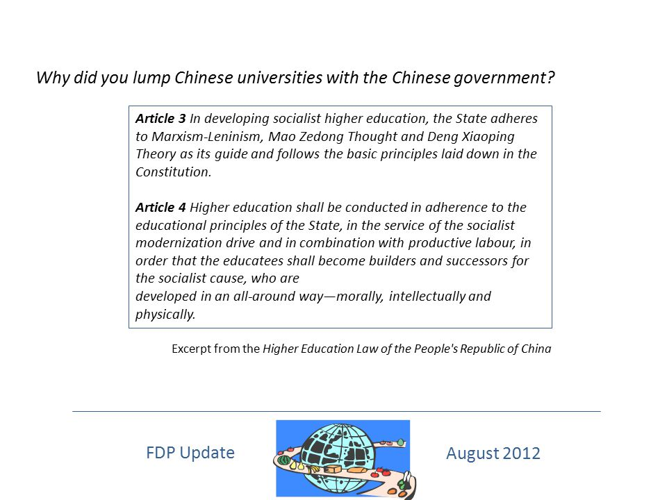 Why did you lump Chinese universities with the Chinese government