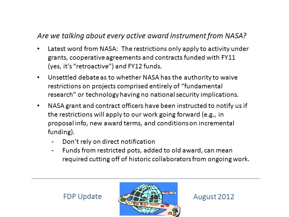Are we talking about every active award instrument from NASA