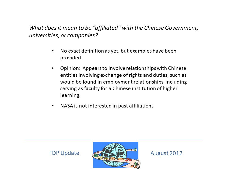 What does it mean to be affiliated with the Chinese Government, universities, or companies