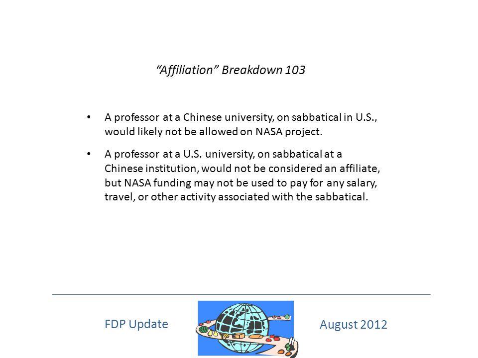 Affiliation Breakdown 103