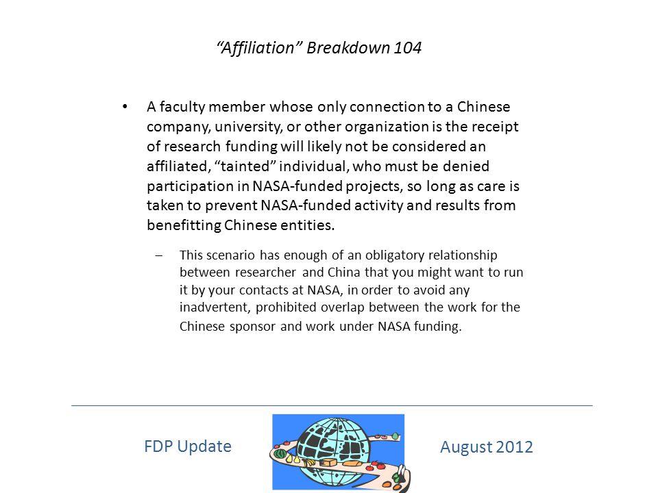 Affiliation Breakdown 104