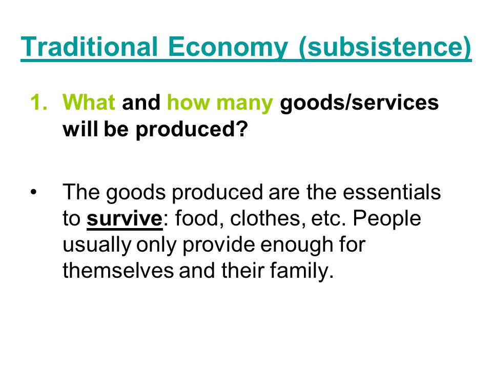 Traditional Economy (subsistence)