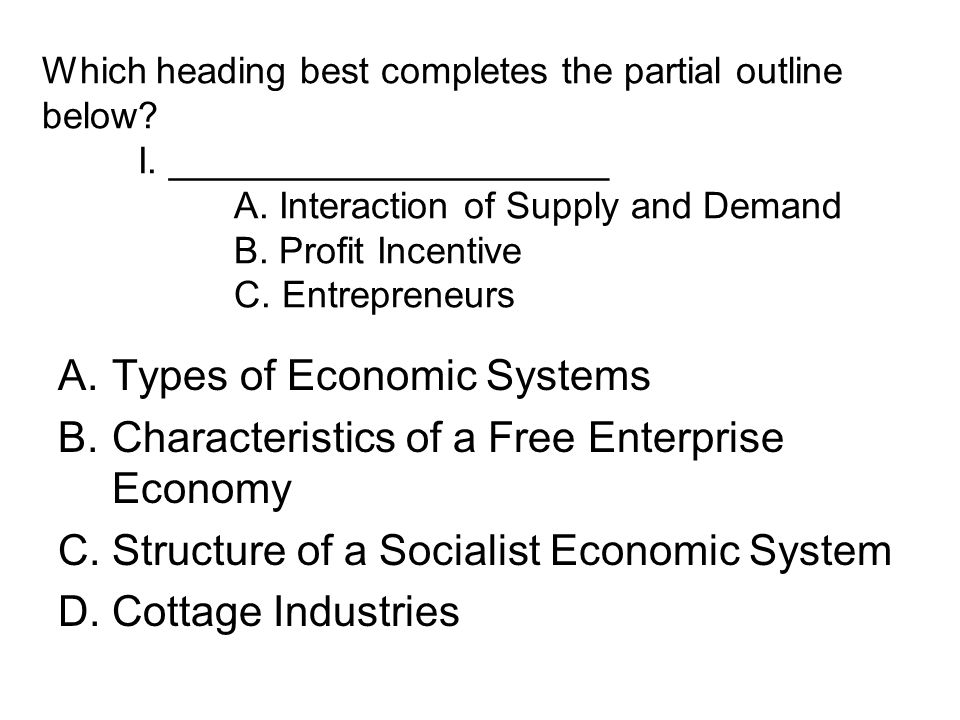 Types of Economic Systems Characteristics of a Free Enterprise Economy
