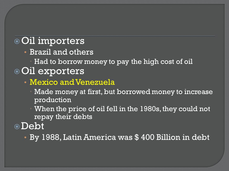 Oil importers Oil exporters Debt Brazil and others