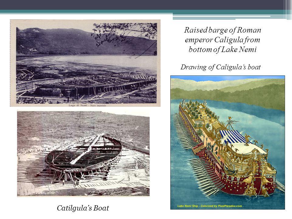 Raised barge of Roman emperor Caligula from bottom of Lake Nemi