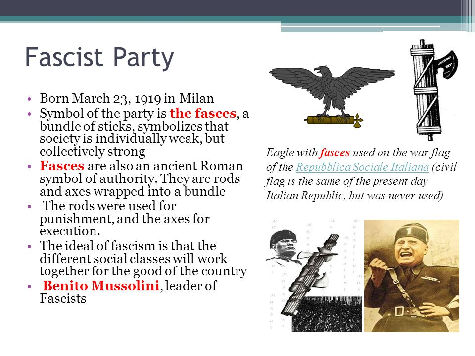 Fascist Party Born March 23, 1919 in Milan