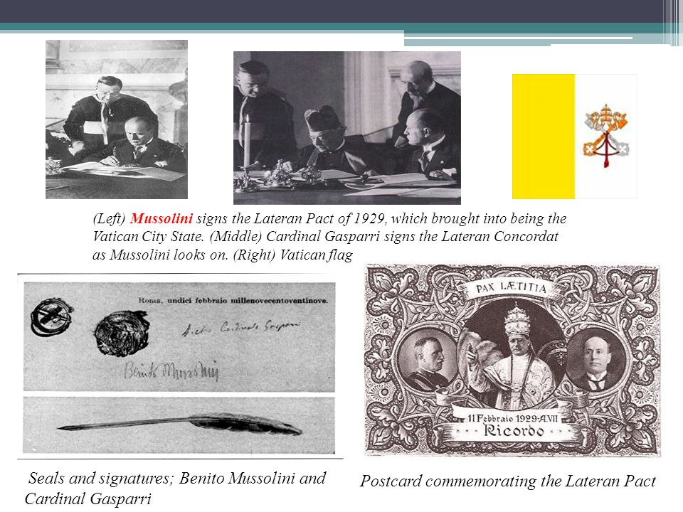 Seals and signatures; Benito Mussolini and Cardinal Gasparri