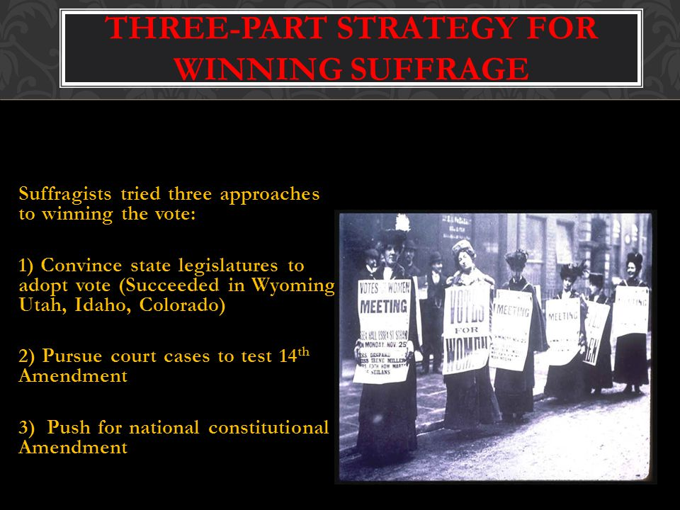 THREE-PART STRATEGY FOR WINNING SUFFRAGE