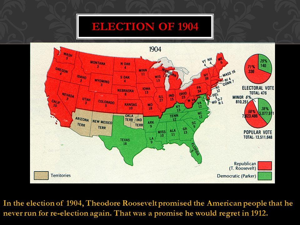 Election of 1904 In the election of 1904, Theodore Roosevelt promised the American people that he.