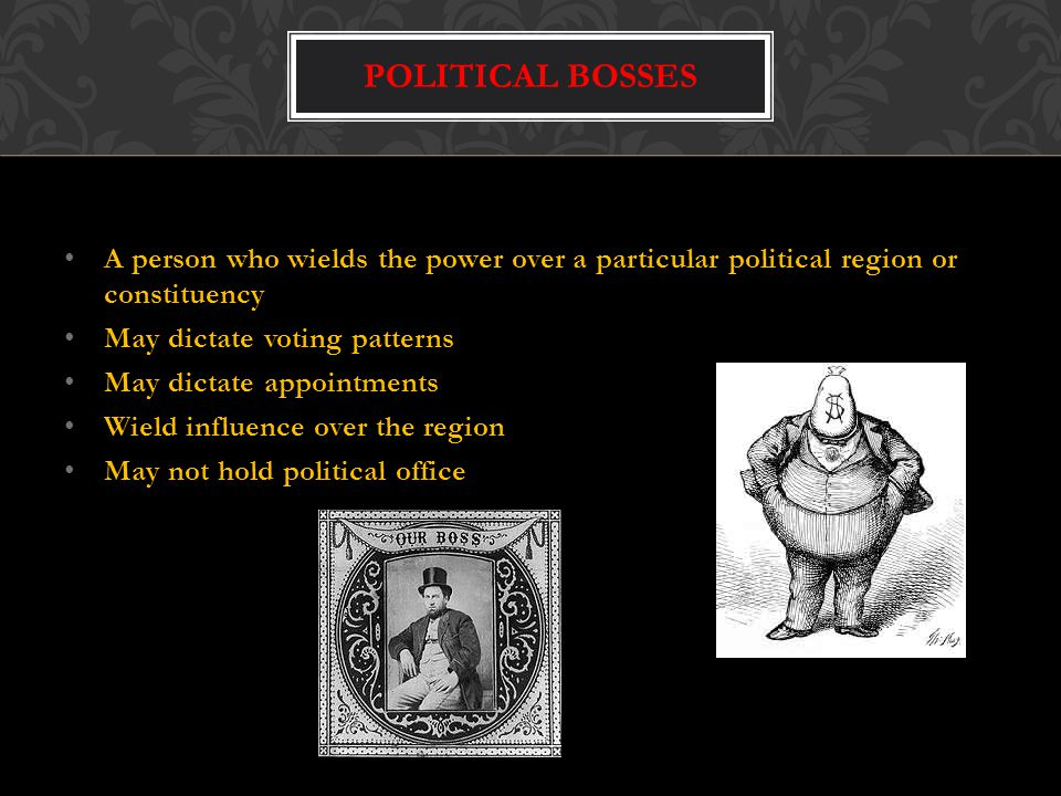 Political Bosses A person who wields the power over a particular political region or constituency.