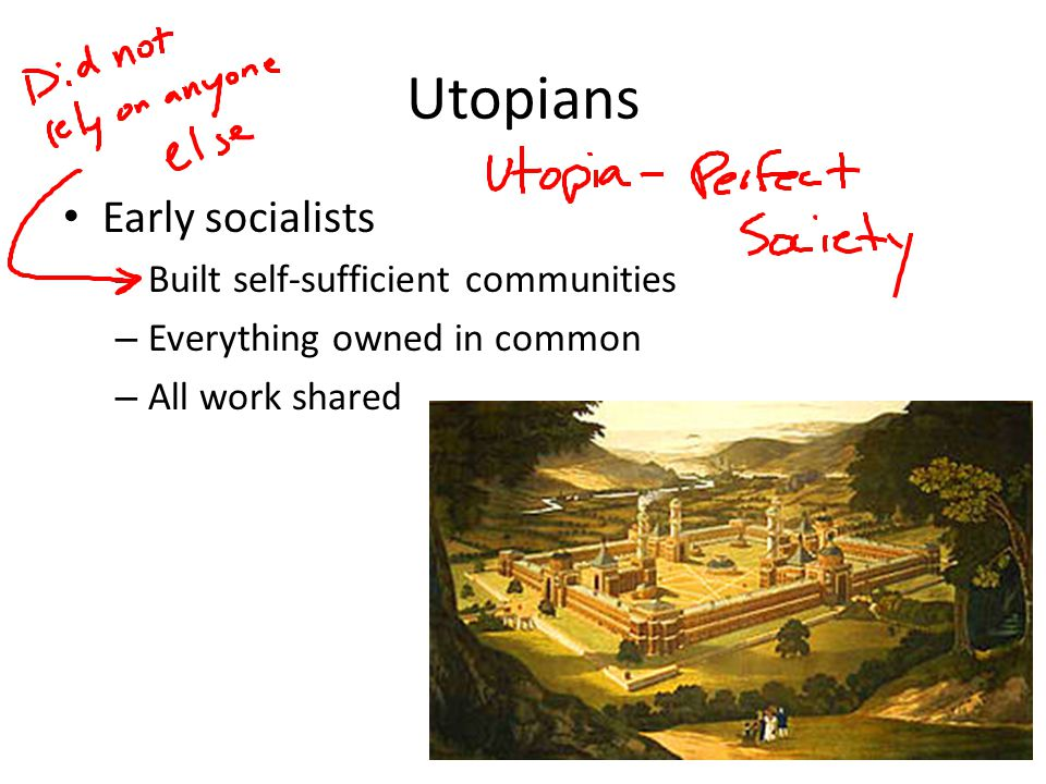 Utopians Early socialists Built self-sufficient communities