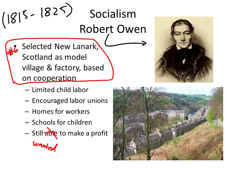 Socialism Robert Owen Selected New Lanark, Scotland as model village & factory, based on cooperation.