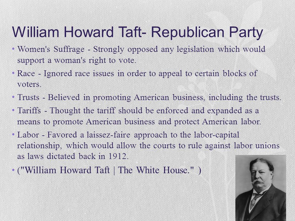 a biography of william howard taft The role of william howard taft in the history of the united states of america.