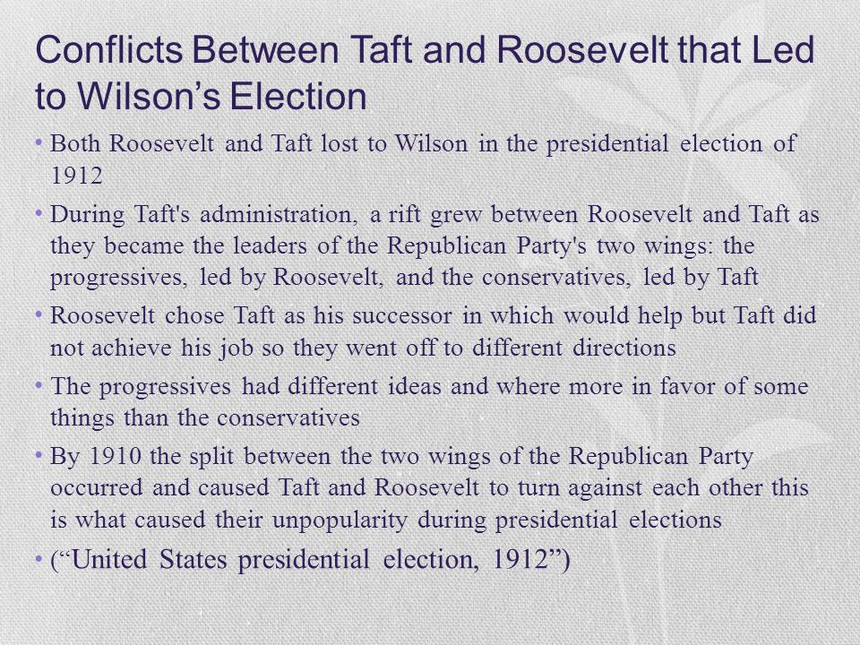 Conflicts Between Taft and Roosevelt that Led to Wilson's Election