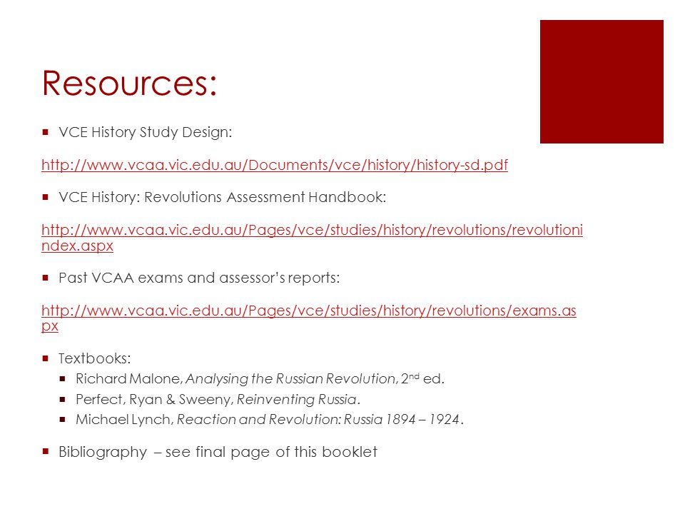 Resources: Bibliography – see final page of this booklet