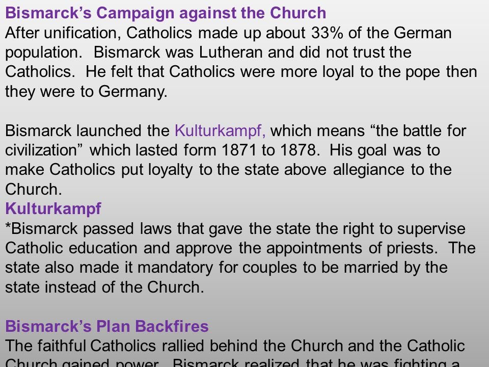 Bismarck's Campaign against the Church
