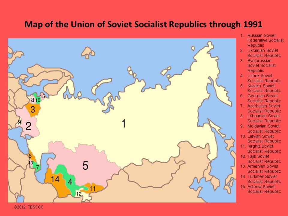 Map of the Union of Soviet Socialist Republics through 1991