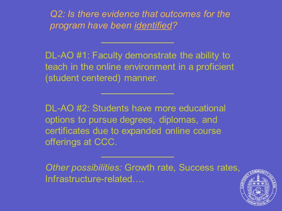 Q2: Is there evidence that outcomes for the program have been identified