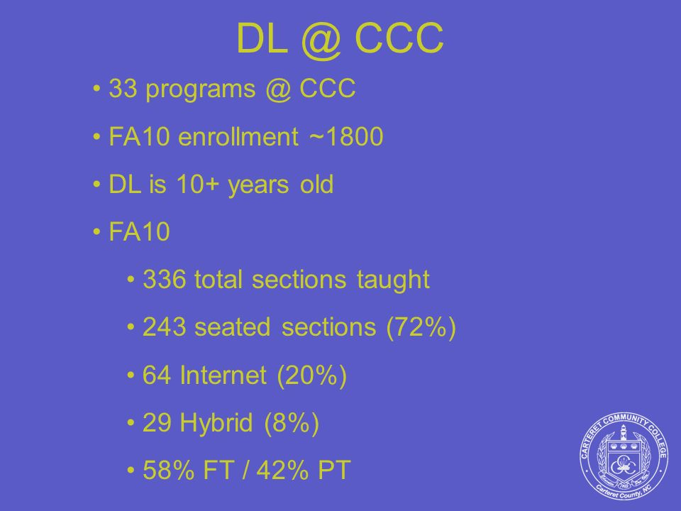 DL @ CCC 33 programs @ CCC FA10 enrollment ~1800 DL is 10+ years old