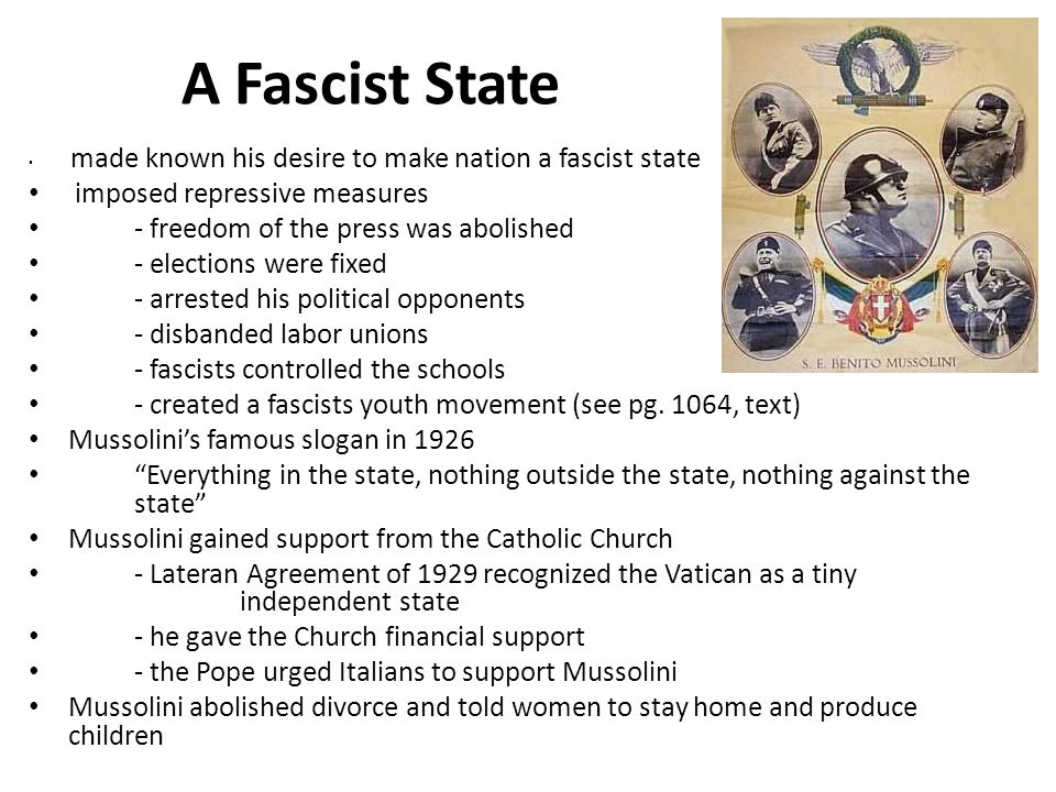 A Fascist State imposed repressive measures