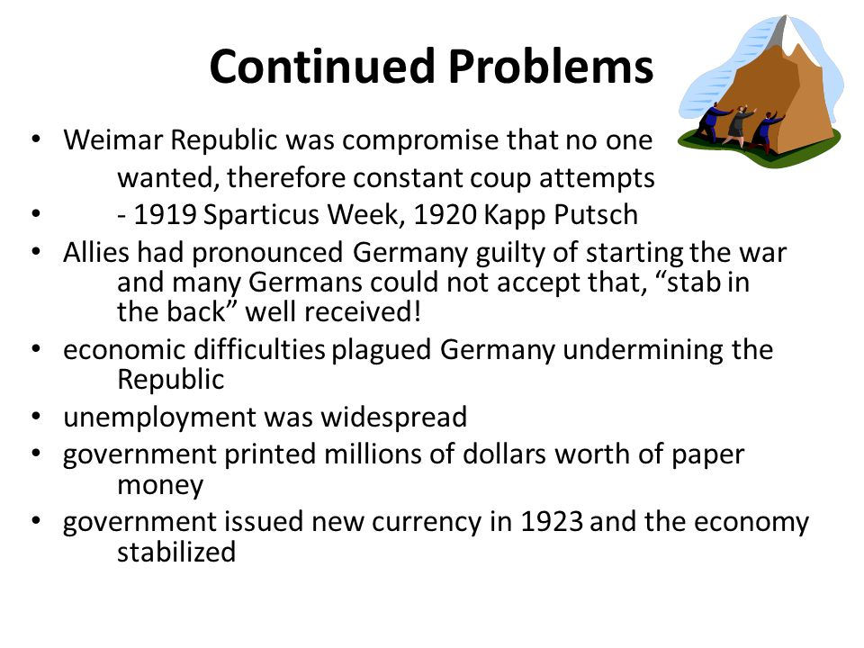 Continued Problems Weimar Republic was compromise that no one