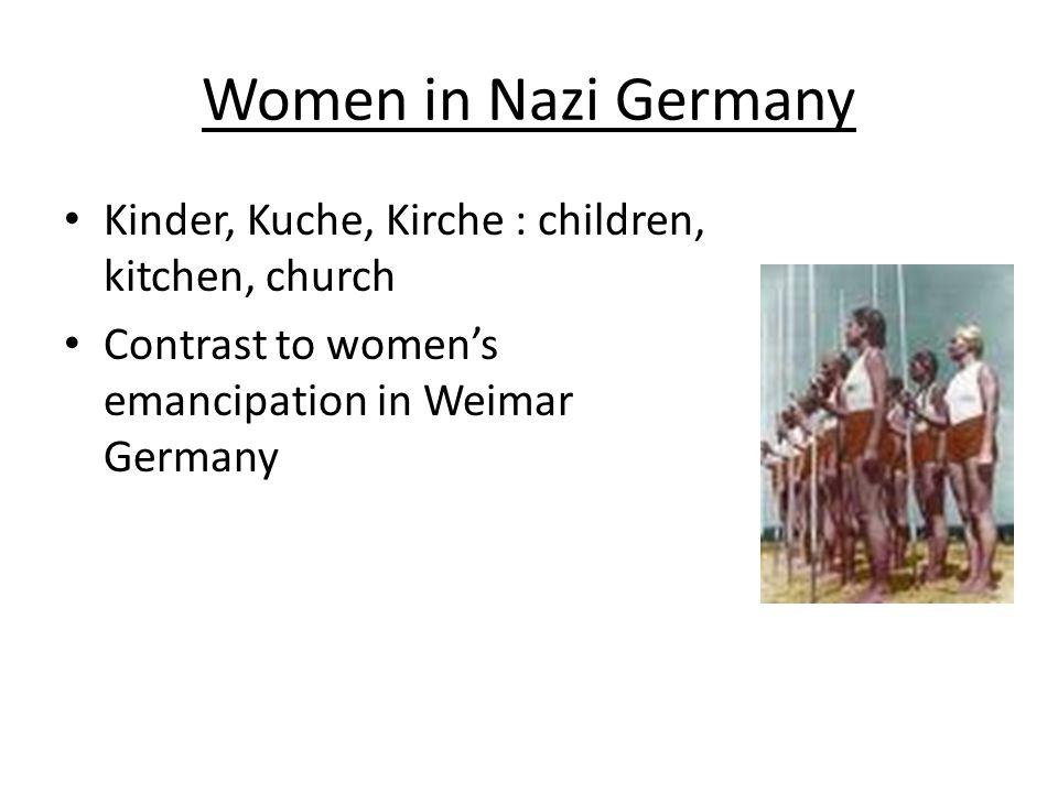 Women in Nazi Germany Kinder, Kuche, Kirche : children, kitchen, church.