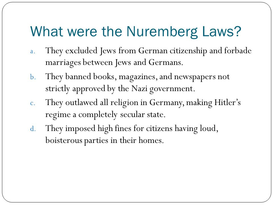 What were the Nuremberg Laws