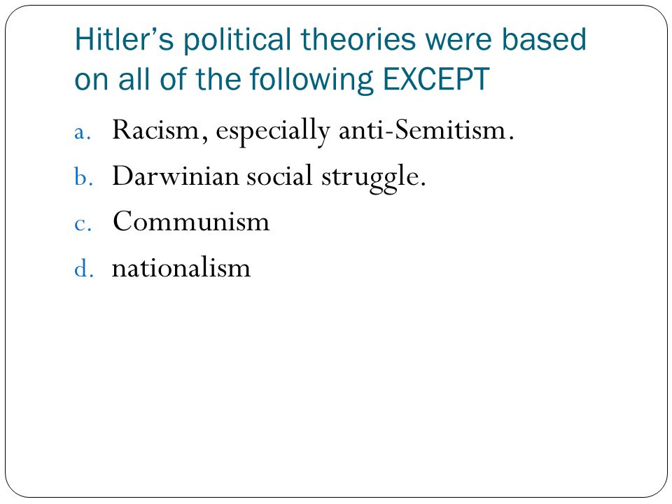 Hitler's political theories were based on all of the following EXCEPT