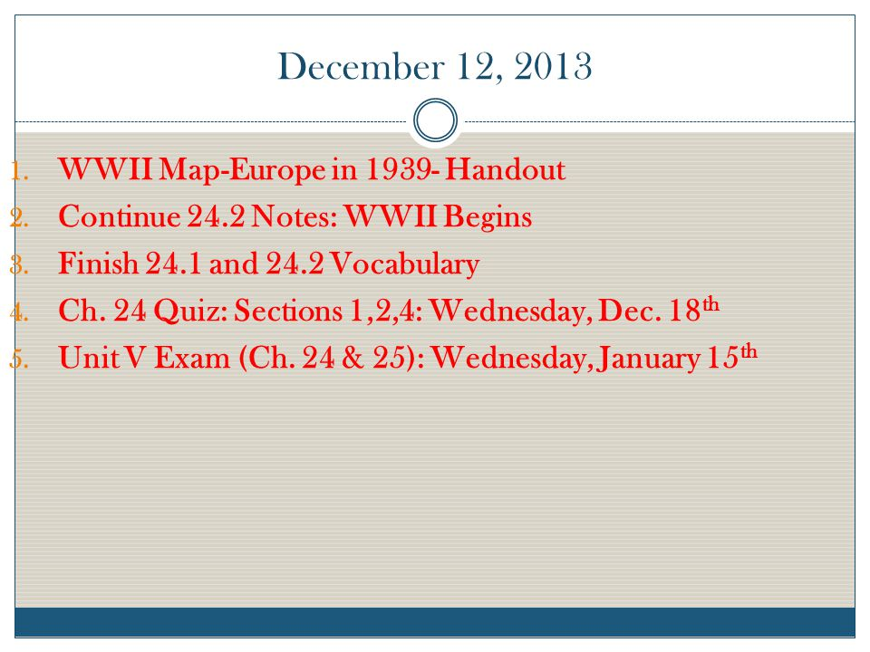 December 12, 2013 WWII Map-Europe in 1939- Handout