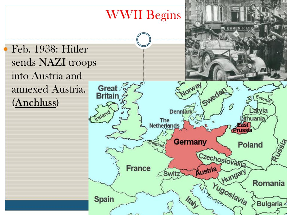 WWII Begins Feb. 1938: Hitler sends NAZI troops into Austria and annexed Austria. (Anchluss)