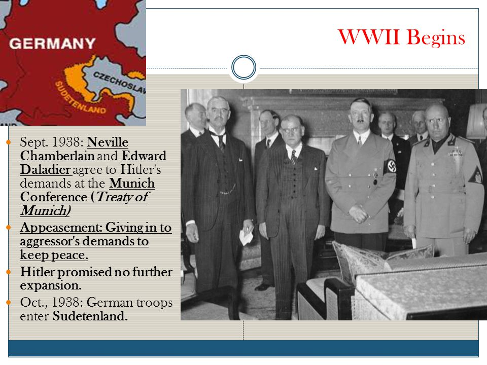 WWII Begins Sept. 1938: Neville Chamberlain and Edward Daladier agree to Hitler s demands at the Munich Conference (Treaty of Munich)