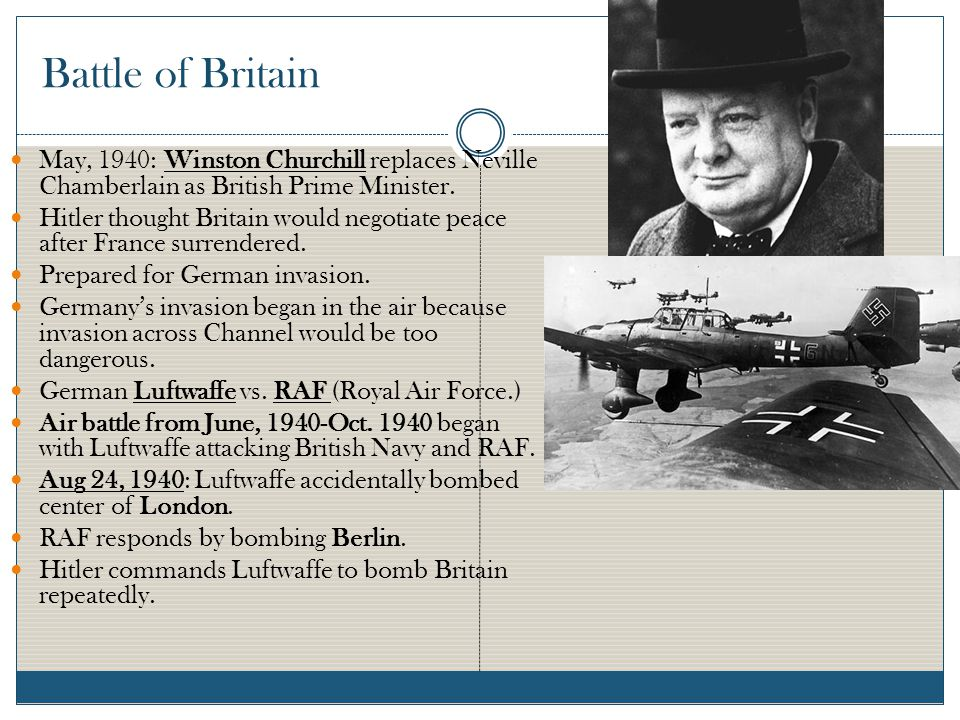 Battle of Britain May, 1940: Winston Churchill replaces Neville Chamberlain as British Prime Minister.