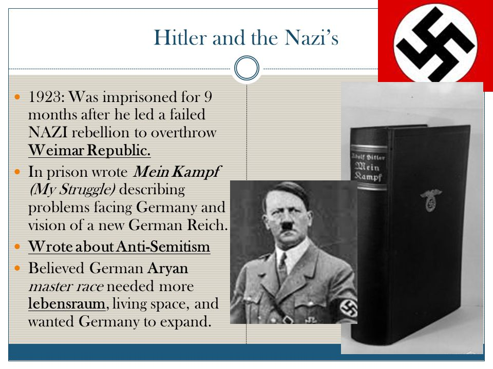 Hitler and the Nazi's 1923: Was imprisoned for 9 months after he led a failed NAZI rebellion to overthrow Weimar Republic.