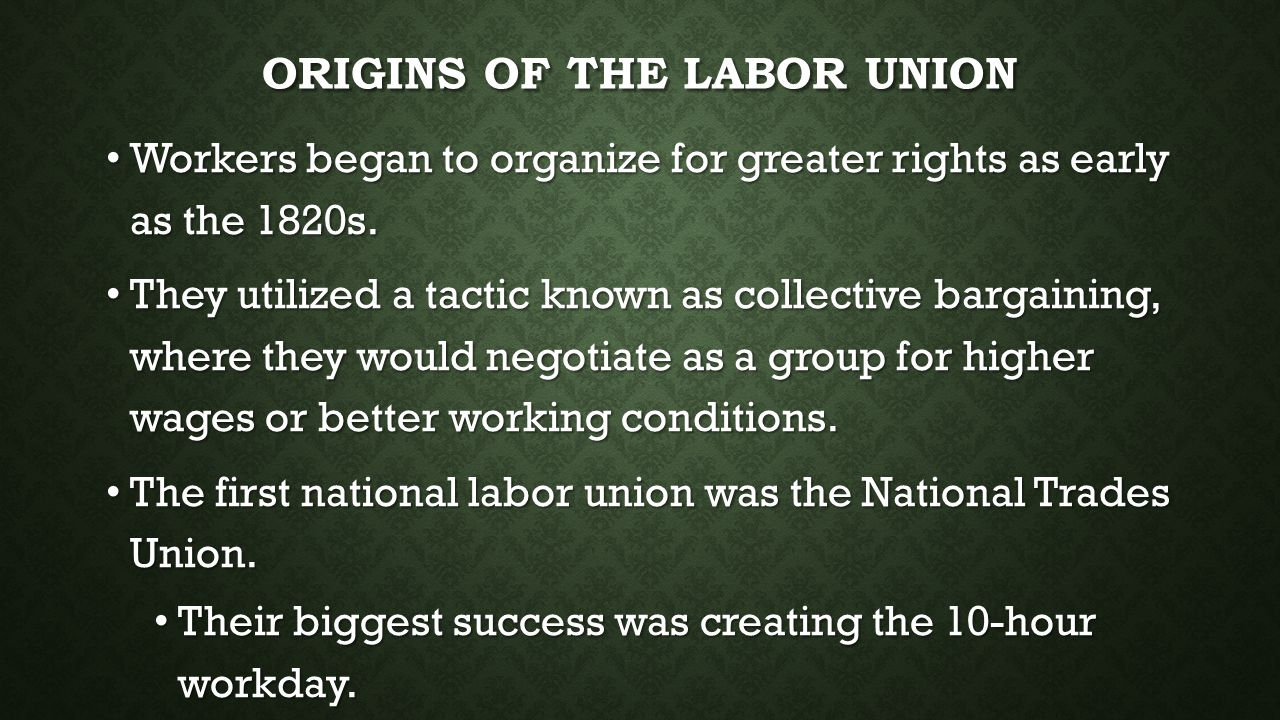 Origins of the Labor Union