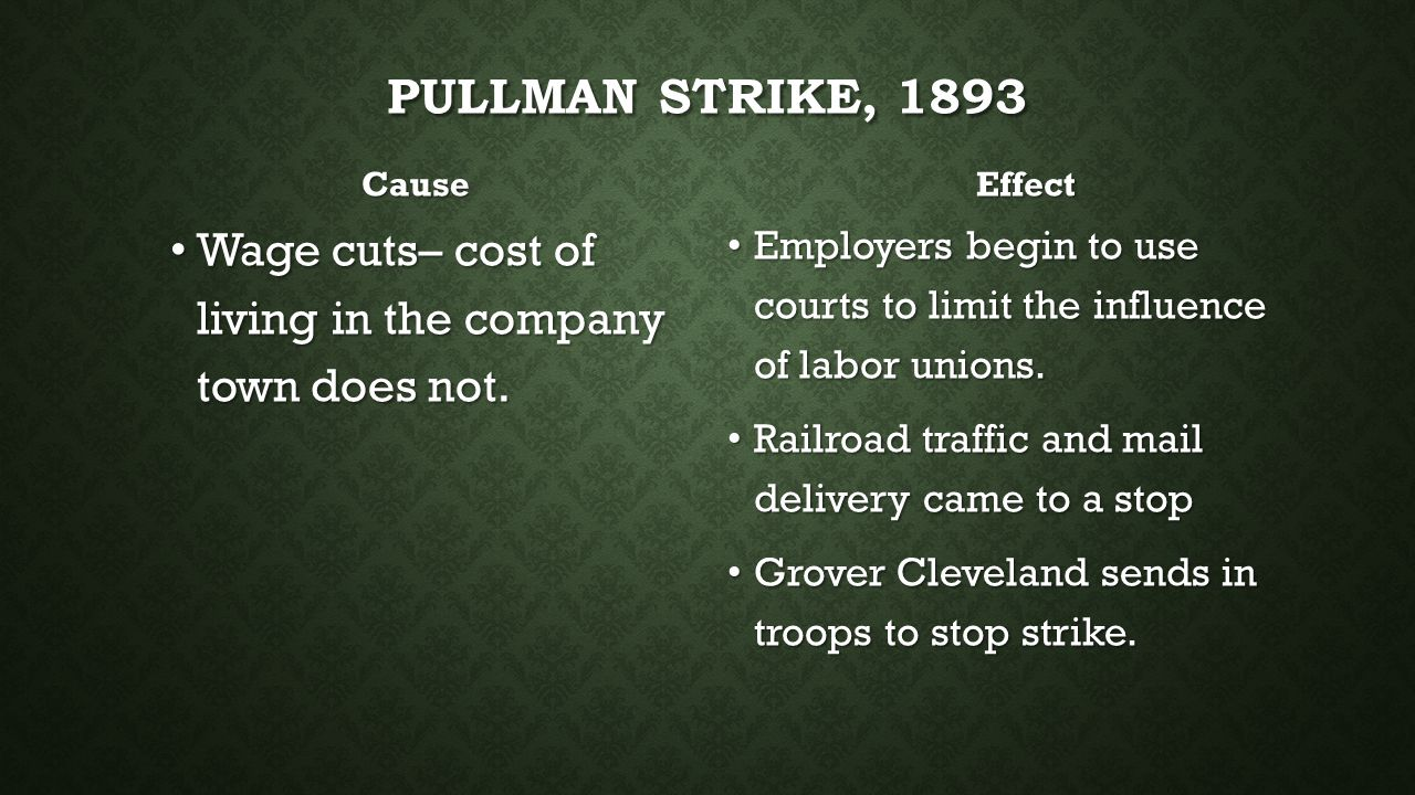 Pullman Strike, 1893 Cause. Effect. Wage cuts– cost of living in the company town does not.