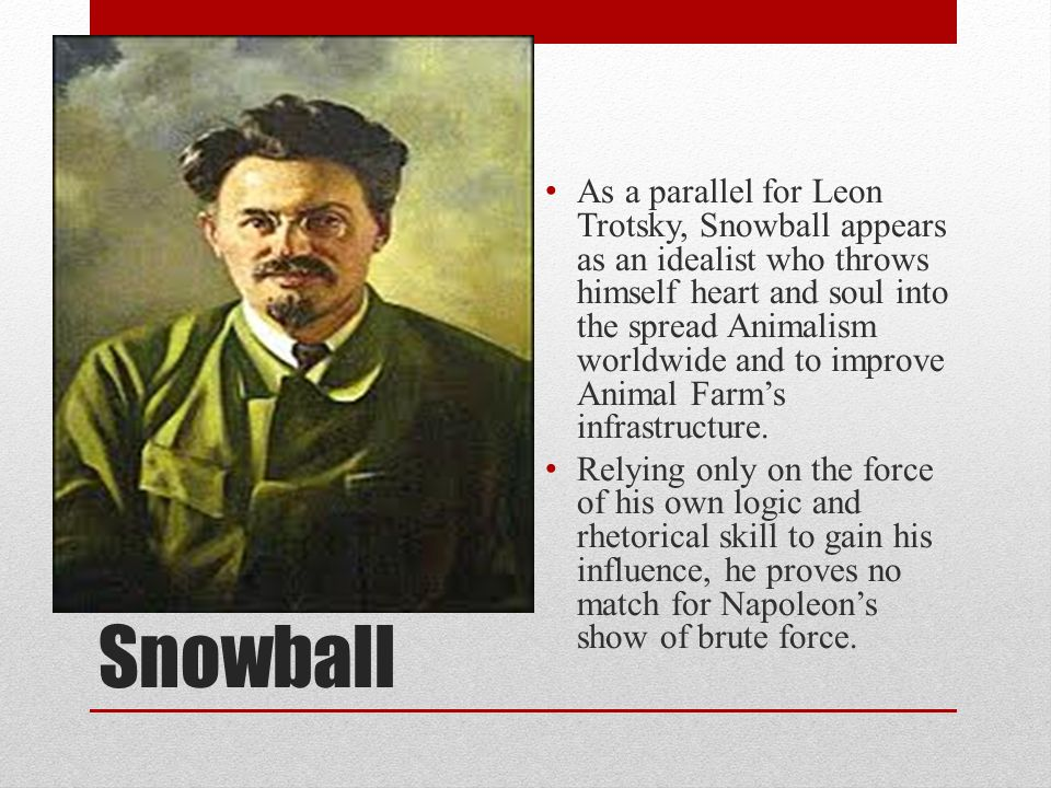As a parallel for Leon Trotsky, Snowball appears as an idealist who throws himself heart and soul into the spread Animalism worldwide and to improve Animal Farm's infrastructure.