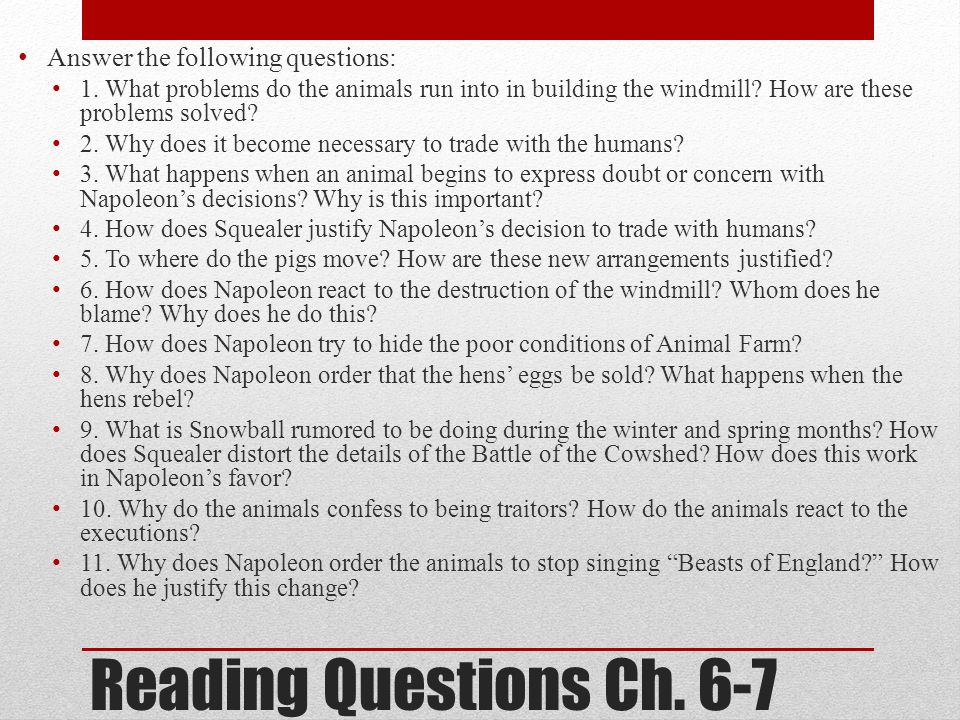 Reading Questions Ch. 6-7 Answer the following questions: