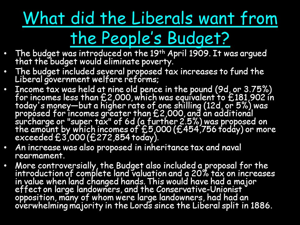 What did the Liberals want from the People's Budget