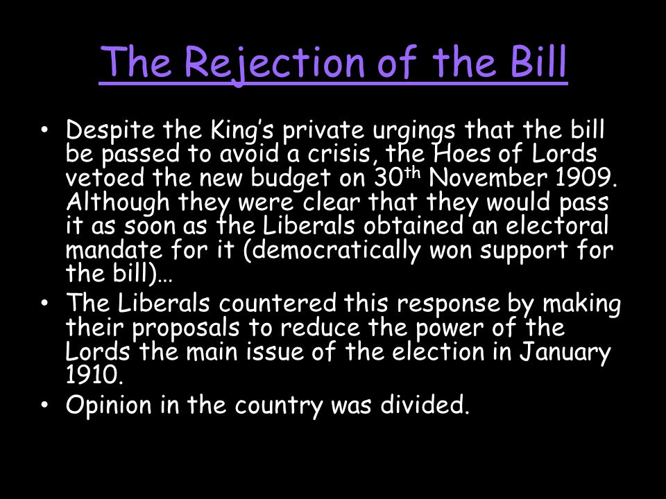 The Rejection of the Bill