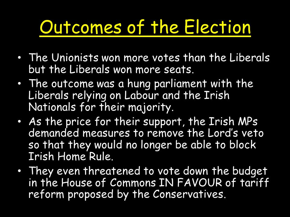 Outcomes of the Election