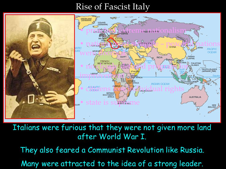 Rise of Fascist Italy preached extreme nationalism