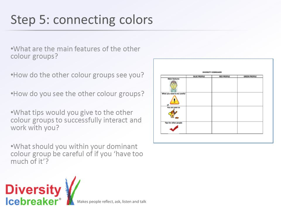 Step 5: connecting colors