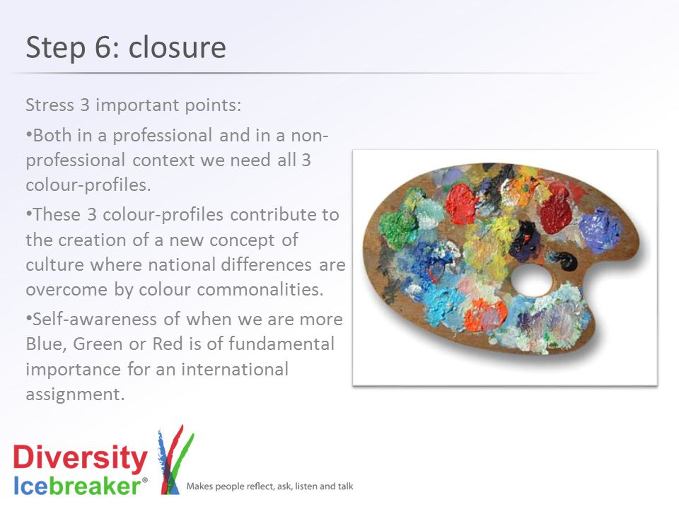 Step 6: closure Stress 3 important points: